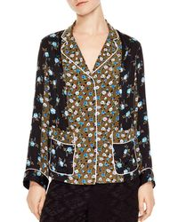9bf31e7a4a0d8 Sandro - Noisette Color-blocked Floral-print Top - Lyst