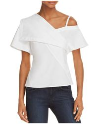 4d8749b4392dfe Lyst - Maje Mashup One-shoulder Knit Top in White