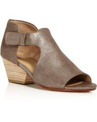 Eileen Fisher | Iris Metallic Leather Block Heel Sandals | Lyst