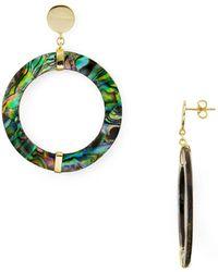 Argento Vivo - Abalone Frontal Hoop Drop Earrings In 18k Gold-plated Sterling Silver - Lyst