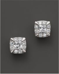Bloomingdale's - Diamond Princess Cut Stud Earrings In 14k White Gold, .50 Ct. T.w. - Lyst