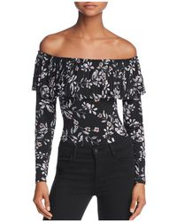 Guess | Off-the-shoulder Pleated-overlay Floral Bodysuit | Lyst