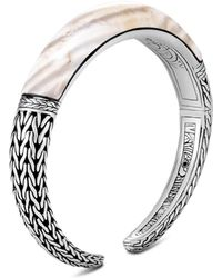 John Hardy - Sterling Silver Classic Chain Small Graduated White Agate Kick Cuff - Lyst