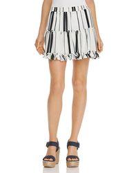 Aqua - Striped Tiered Mini Skirt - Lyst