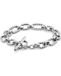 David Yurman - Chain Cushion Link Bracelet With Blue Sapphire In Sterling Silver - Lyst