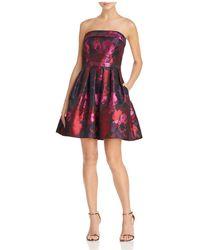 Betsy & Adam - Strapless Brocade Dress - Lyst