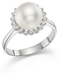 Tara Pearls - 14k White Gold Natural Colour White South Sea Cultured Pearl And Diamond Ring - Lyst
