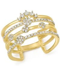 Meira T - 14k Yellow Gold Four Band Diamond Ring - Lyst