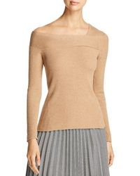 Donna Karan - New York Ribbed Asymmetric Neck Jumper - Lyst