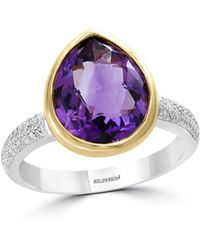 Bloomingdale's - Amethyst & Diamond Teardrop Ring In 14k Yellow & White Gold - Lyst
