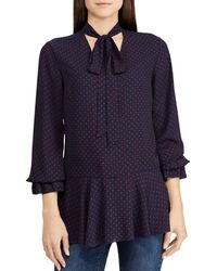 Ralph Lauren - Lauren Dotted Tie-neck Top - Lyst