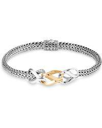 John Hardy - Sterling Silver & 18k Yellow Gold Classic Chain Slim Bracelet - Lyst