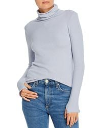 Enza Costa Ribbed Knit Turtleneck With Thumbholes - Blue