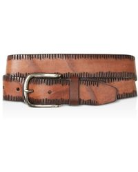John Varvatos - Side Stitch Leather Belt - Lyst