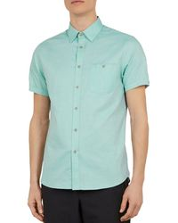 e5b600be Ted Baker Aboutit Gingham Check Short Sleeve Sport Shirt Classic Fit in  Blue for Men - Lyst
