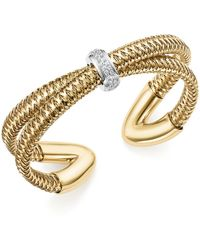Roberto Coin | 18k White And Yellow Gold Primavera Diamond Cuff Bracelet | Lyst