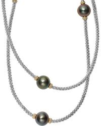 Lagos - 18k Gold And Sterling Silver Luna Cultured Tahitian Pearl Rope Necklace - Lyst