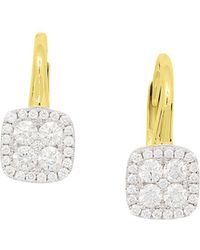 Frederic Sage - 18k White & Yellow Gold Firenze Pavé Diamond Cushion Earrings - Lyst