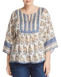 Lucky Brand - Mixed Print Peasant Top - Lyst