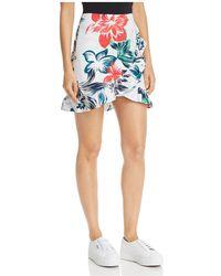 Aqua - Ruffled Floral Print Skirt - Lyst