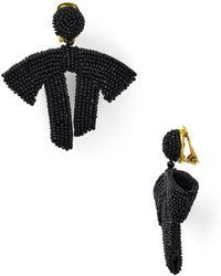 Oscar de la Renta - Drape Beaded Clip-on Earrings - Lyst