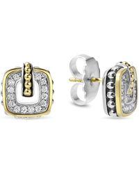 Lagos - Sterling Silver Classic Stud Earrings With 18k Gold And Diamonds - Lyst
