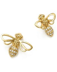 Temple St. Clair - 18k Yellow Gold Bee Diamond Stud Earrings - Lyst