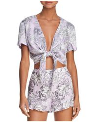Bardot - Tie-front Floral Print Cropped Top - Lyst