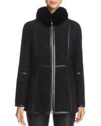 Maximilian - Fox Fur-collar Shearling Jacket - Lyst
