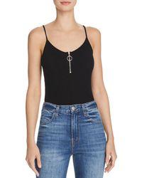 Aqua - Ring-zip Bodysuit - Lyst