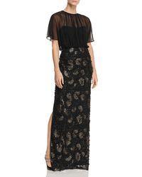 Aidan Mattox - Sequined Floral-appliqué Gown - Lyst