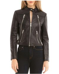 BAGATELLE.NYC - Zip Detail Leather Moto Jacket - Lyst
