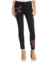 Aqua - Embroidered Skinny Jeans In Black - Lyst