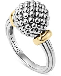 Lagos - Sterling Silver Caviar Beaded Ring With 18k Gold - Lyst