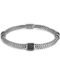 John Hardy - Classic Chain Silver Lava Four Station Chain Bracelet With Black Sapphires - Lyst