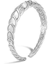 John Hardy - Sterling Silver Legends Naga Pavé Diamond Small Flex Cuff - Lyst
