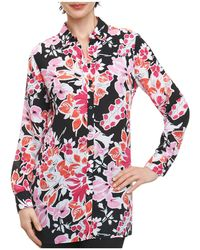 Foxcroft - Jade Floral-print Button-down Top - Lyst