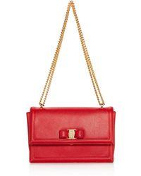 Ferragamo - Ginny Medium Saffiano Leather Shoulder Bag - Lyst