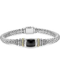 Lagos - 18k Gold And Sterling Silver Caviar Color Bracelet With Black Onyx - Lyst
