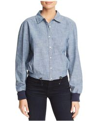 Kenneth Cole - Chambray Boxy Button-down Top - Lyst