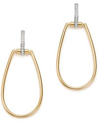 Roberto Coin - 18k White & Yellow Gold Classic Parisienne Diamond Oval Earrings - Lyst