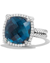 David Yurman - Chã¢telaine® Pave Bezel Ring With Hampton Blue Topaz And Diamonds - Lyst