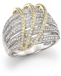 Bloomingdale's - Diamond Multirow Ring In 14k White And Yellow Gold, 1.0 Ct. T.w. - Lyst