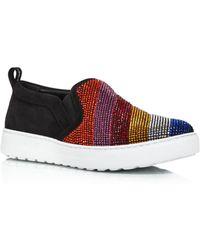 d538eb7b3d Ferragamo - Women s Balze Strass Embellished Suede Slip-on Sneakers - Lyst