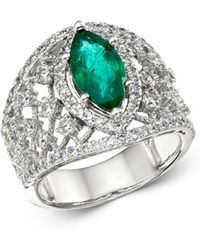Bloomingdale's - Emerald & Diamond Statement Ring In 14k White Gold - Lyst