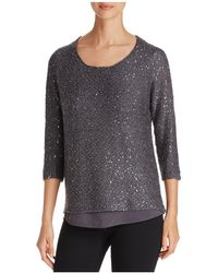 Sioni - Mixed Media Sequin Sweater - Lyst