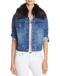 Bagatelle - Faux-fur Collar Denim Jacket - Lyst