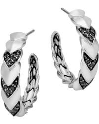 John Hardy - Sterling Silver Naga Hoop Earrings With Black Sapphire And Black Spinel - Lyst