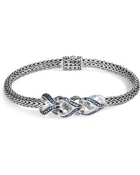 John Hardy - Sterling Silver Classic Chain Blue Sapphire Slim Bracelet - Lyst