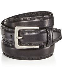 John Varvatos - Feather Edge Belt With Pick Stitch Detail - Lyst